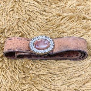 Distressed leather boho belt sz XL